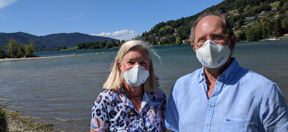 Sommer 2020: TEPFIT-Treffen am Tegernsee von Heidi und Peter mit Maske